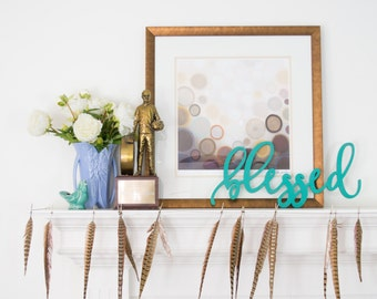Blessed Wood Wall Words Sign - Custom Wooden Word Sign - Wood Word Wall Decor - Laser Cut Wooden Blessed Sign