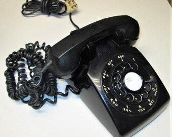 Vintage  Black Rotary Dial Desktop Telephone Dated October 1964 Bell Western Electric Model 500 C/D