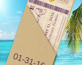 Boarding Pass Save the Date - Destination Wedding