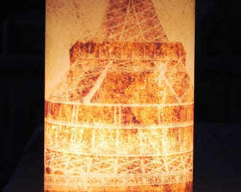 Cylindrical table lamp vintage Eiffel Tower