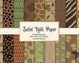 Safari Kraft Digital Paper - Jungle Safari Backgrounds, Baby Jungle Animals, safari animals, baby shower digital paper, baby shower paper
