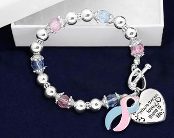 Pink & Blue Ribbon Bracelet - Where There Is Love (RE-B-01-16)