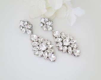 Large statement rhinestone bridal earrings-Long drop earrings-Swarovski crystal chandelier-Antique silver wedding earrings-Hollywood glam