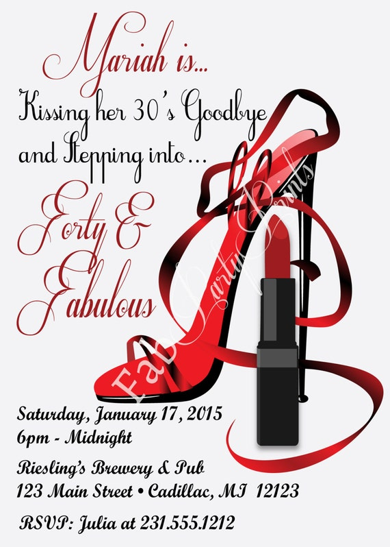 Red Hot Forty & Fabulous Birthday Invitation Women's - photo#6