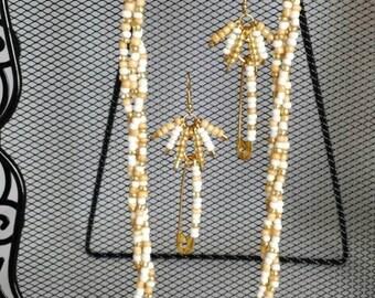 Gold & White Beaded Set