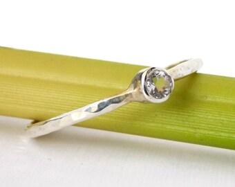Sterling Silver Birthstone Ring w/ Hammered Band: stackable birthstone ring, sterling silver ring, birthstone ring, hammered ring, textured