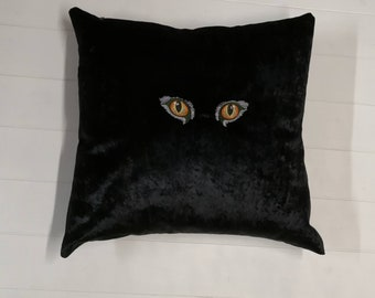 Embroidered Cat's Eyes Cushion, Crushed Velvet Cat Cushion, Decorative Cushions, Embroidered Pillow