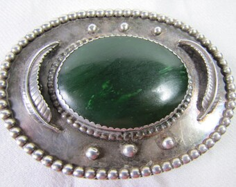 Vintage Native American Belt Buckle Sterling Silver with Serpentine Setting