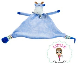 Personalised embroidered blue giraffe cubbie comforter