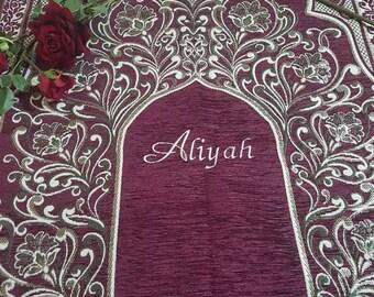Personalised Embroidered Prayer Mat Mussallah Sajada