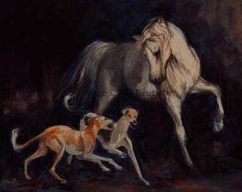 Arabian Horse and Two Salukis - print from painting