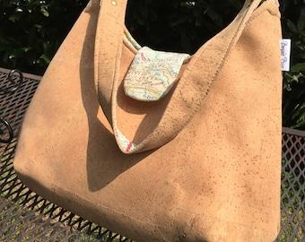 Cork purse, vegan purse, Cork fabric bag, Phoebe bag, natural cork bag, cork fabric purse, vegan leather bag, vegan gift, eco friendly gifts