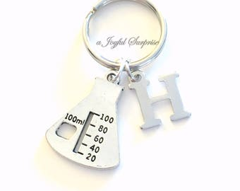 Lab Beaker Keychain, Laboratory Gift, Chemist Key Chain Chemistry Science student Key chain Epic Keyring initial letter custom personalized