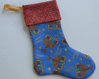Hanukkah stocking, Hanukkah decoration, holiday stocking, Hanukkah symbols, menorah, colorful Hanukkah stocking