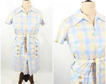 1960s plaid dress | blue zip up plaid dress | vintage 60s dress | W 40""
