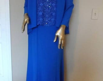 Vintage 1980's Blue URSULA of SWITZERLAND Evening Dress* Size 10 Lace & Rhinestones Mother of Bride Party Special Occasion Elegant Classy