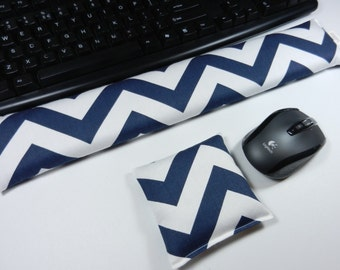 Computer Keyboard Wrist Pad and Optional Mouse Wrist Rest Set in Navy Chevron - Wrist Support