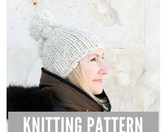 Knitting Pattern / Chunky slouch knit hat with pom pom / Winter hat pattern / Easy hat knitting pattern / Ski hat