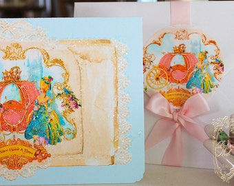 Cinderella Marie Antoinette Once Upon A Time Pink Pumpkin Coach Card or Invitation Set of Six with Envelopes