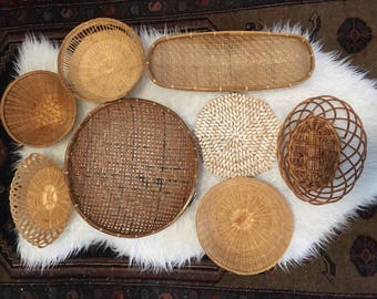 8 Natural Cowrie Shell Rattan Wicker Vintage Wall Basket Set