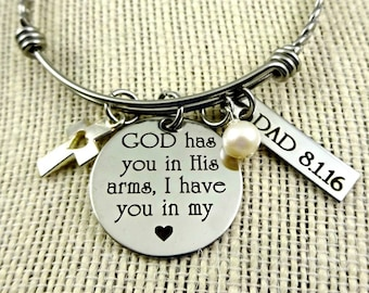 God Has You In His Arms - Personalized Memorial Loss Loved Ones - Bracelet or Necklace - Parents Mom Dad Grandma  Jewelry