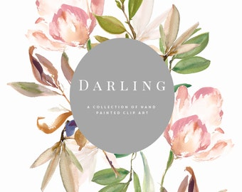 Hand Painted Flower and Leaf Clipart - Darling