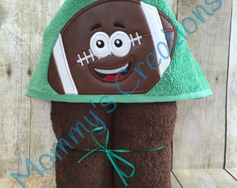 "Football Applique Hooded Bath, Beach Towel, Swim Cover Up 30"" x 54"" Custom Colors!! Personalization Available"
