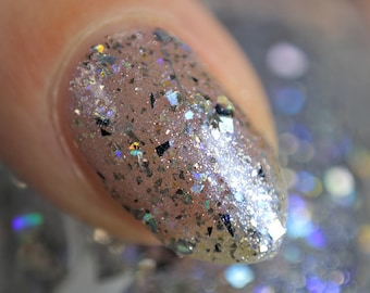 Maze of Mirrors - 5 ml mini - glitter polish with silver, black and iridescent glitter and shimmer - indie polish by ALIQUID Lacquer