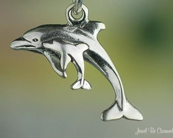 Sterling Silver Dolphin Charm Mother and Baby Dolphins Swim Solid .925