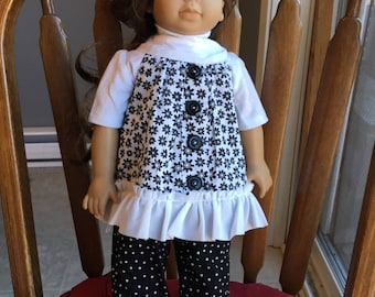 """Tunic top with t-shirt and capris fit 18"""" dolls such as American girl"""