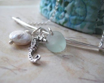 Charm Necklace, Sterling Silver, Beach Necklace, Sea Horse Charm, Natural Sea Glass, Coin Pearl, Beach Theme, Bar Necklace, Pale Aqua Glass
