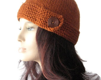 Hand Knit Hat Womens, Vegan Beanie, Knit Button Tab Hat, Knit Beanie, Hat Vegan Knits, Knitwear, Women Knitted Hat, Rust Cloche Hat