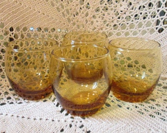 Lot of 4 Vintage Amber Glass Roly Poly Glasses