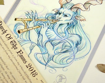 Blue Hair - MarchOfTheFauns 2018 Limited Edition Double Matted Faun Print with Story Scroll