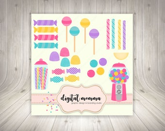 Candy, Gumball Machine Clipart Set, Personal & Small Commercial Use, Instant Download!