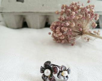 Vintage Arg925 flowers and pearls ring