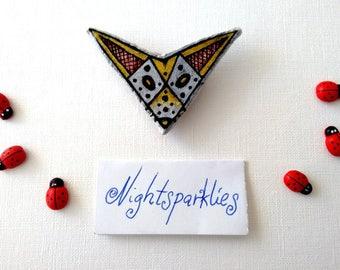 polymer clay brooch, tribal ethnic brooch, fox brooch, handmade art brooch, clay art brooch, glossy brooch, handmade wearable art jewelry