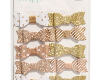 Heidi Swapp Gold and White Glitter Bows
