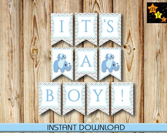 "Banner for Baby Shower, It's a Boy, Blue Elephants, Gray Chevron, 5"" x 7.5"" each, Instant Download, Printable, DIY, PDF"