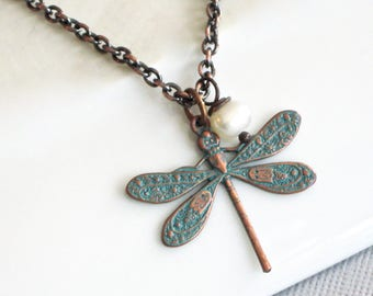 Small Dragonfly Necklace - Pearl Necklace, Dragonfly Jewelry, Nature Jewelry, Garden Jewelry, Minimalist Jewelry, Teal Necklace, Patina