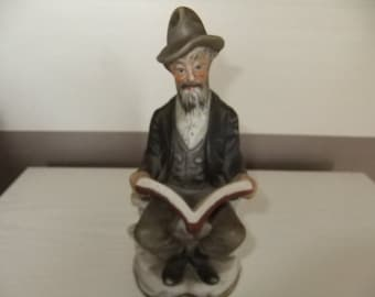 Vintage Capodemonti style Bisque Figure of an old man reading a book