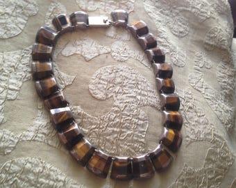 """Tiger Eye Sterling Silver Collar Mexico Vintage 1970s Retro Necklace 14.5"""""""