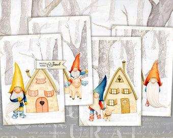 Winter Card - digital collage sheet - set of 4 cards - Printable Download
