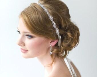 Wedding Headpiece, Bridal Beaded Headband, Bridal Rhinestone Headband, Wedding Crystal Ribbon Headband