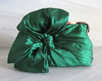 Emerald Green Silk Bow Clutch,Bags And Purses, Bridal Accessories,Green Clutch,Bridal Clutch,Bridesmaid Clutch,Bridesmaid Gift