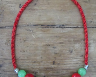 Chunky Red Coral and Nephrite Necklace