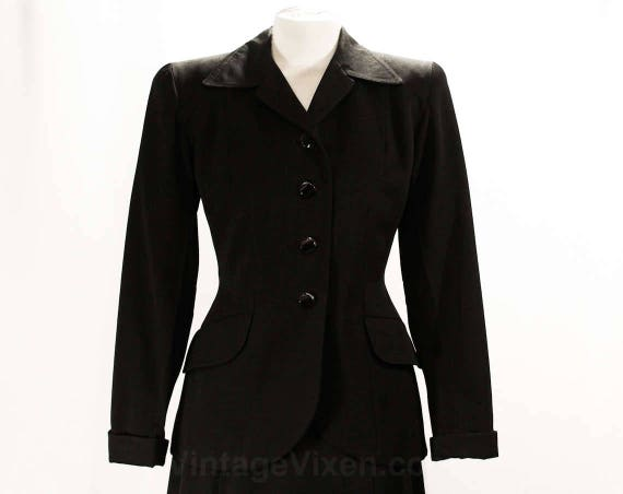 Gab 26 Glass Sharp Size Jacket Tailored WWII Gabardine Skirt Suit 1940s Waist Black Buttons 40s Era 6 amp; 49808 Tailoring wqxOIqBZU