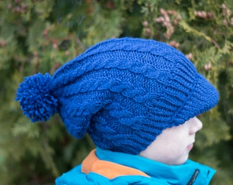 Hand Knitted Warm Woolen Beanie Hat With a Visor