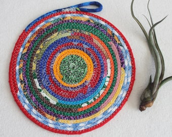 Fabric Coiled Mat / Mug Rug / Trivet / Hot Pad / Coiled Rope Mat / Colourful Carnival Round / by PrairieThreads