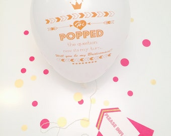 Bridesmaid Balloon Pop Proposal Card  in your choice of color